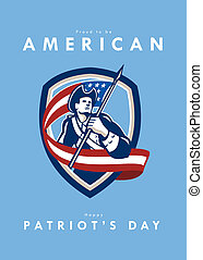 Patriots Day Greeting Card American Patriot Soldier Waving Flag Shield