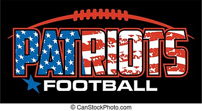 patriots football team design with american flag and laces for school, college or league