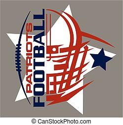 patriots football team design with helmet, stars and facemask for school, college or league