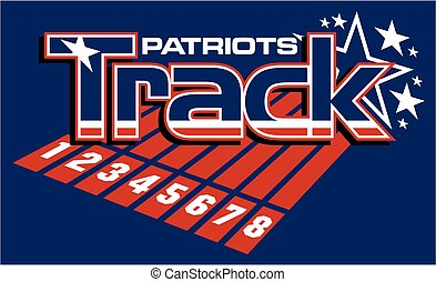 patriots track and field team design with stars for school,...