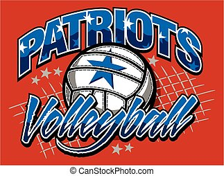 patriots volleyball team design with ball and net for school, college or league