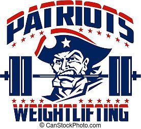 patriots weightlifting design with mascot holding barbell in...