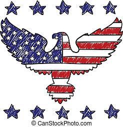 patriottico, aquila, americano, schizzo