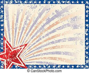 patriottico, cornice, grunge, stelle
