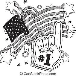 patriottico, schizzo, anmerican