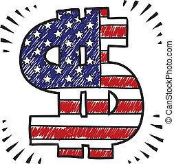 patriottico, schizzo, dollaro, segno