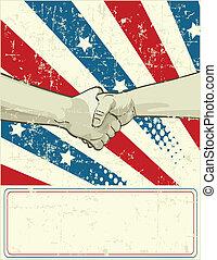 patriottico, stretta di mano, disegno