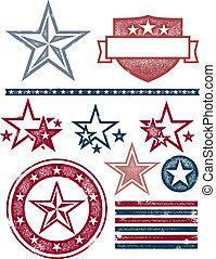 patriottico, vendemmia, progetta, stella