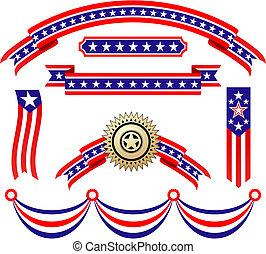 patriotyczny, amerykanka, wstążki