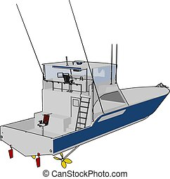 Patrol boat, illustration, vector on white background.