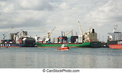 patrol boat in harbour of port louis