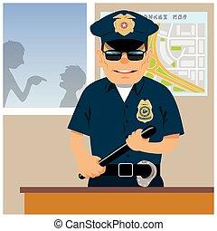Patrolman in the police station. Vector illustration