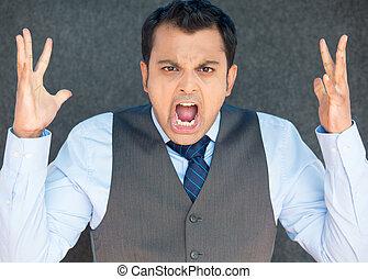 patron, fâché, air, crier, mains