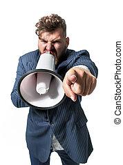 patron, photo, utilisation, conceptuel, haut-parleur