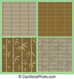 patrones, bambú, conjunto, seamless