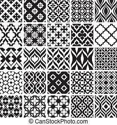 patrones, blanco, conjunto, negro