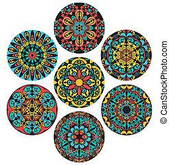 patrones, círculo, conjunto, brigh