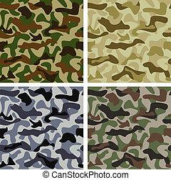 patrones, conjunto, camuflaje