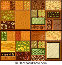 patrones, conjunto, fondos, africano, étnico