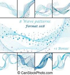 patrones, conjunto, onda