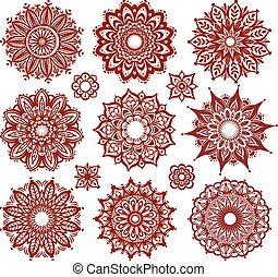 patrones, conjunto, ornamento, redondo