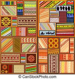 patrones, conjunto, pueblos, norteño, étnico