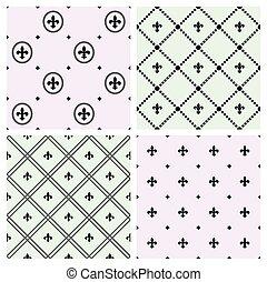 patrones, conjunto, seamless, fleur
