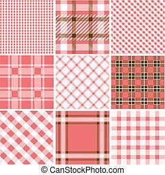 patrones, conjunto, tartán
