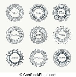 patrones, elementos, mandala, ornamentos, plano de fondo, redondo, tribal, bohemio