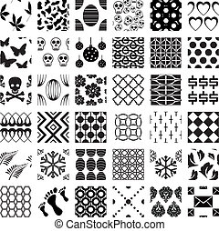 patrones, geométrico, conjunto, seamless, monocromo