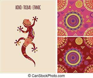 patrones, lagarto, étnico, plano de fondo, bohemio, tribal