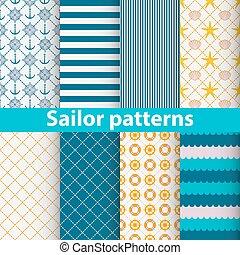 patrones, marinero, conjunto