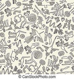patrones, patrón, primitivo, seamless
