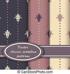patrones, seamess, vector, clásico