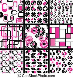 patrones, seamless, colección, mod