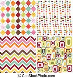 patrones, seamless, colorido