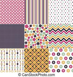 patrones, seamless, textura, tela