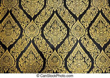 patrones, tailandés, ratchanatdaram, templo, wat