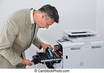 patroon, repareren, photocopy machine, middelbare leeftijd ,...