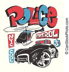 patrouille, chemise, voiture, illustration, vecteur, impression, contrôlez hélicoptère
