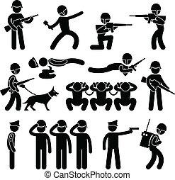 patrouille, leger, dog, militair, oorlog, pictogram
