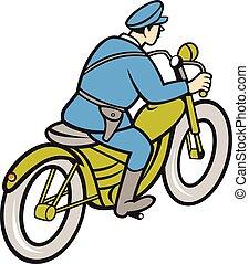 patrouille, motorfiets, politieagent, paardrijden, spotprent, snelweg