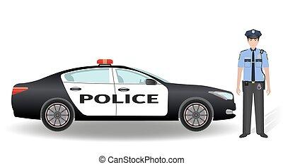 patrouille, policier, voiture, isolé, arrière-plan., officier, police, blanc