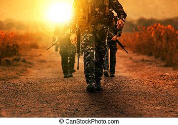 patrouille, troupe, long, militaire, armée, gamme