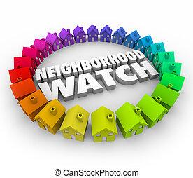 patrulla, casas, organizado, vecindad, hogares, reloj