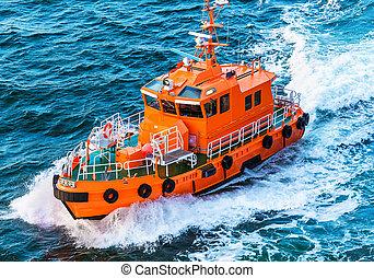 patrulla, rescate, guardacostas, o, barco