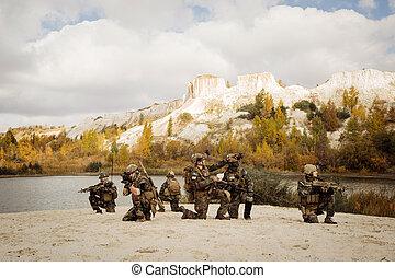 patrulla, toma, área, interrupción, soldados, berm, durante