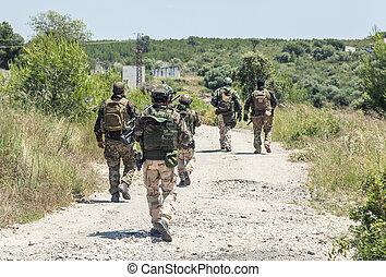 patrullar, ejército, equipo, bosque, ambulante, soldados
