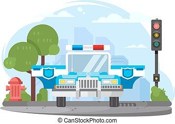 patrullero, con, intermitente