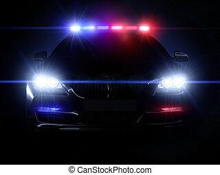 patrullero, con, lleno, serie, de, luces
